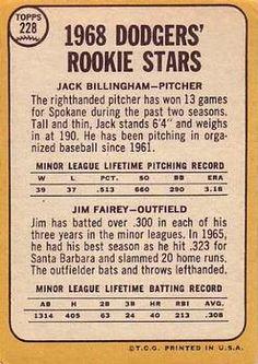 1968 Topps #228 Dodgers Rookies - Jack Billingham / Jim Fairey Back