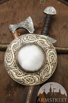 """Traditional Viking brass shield boss with ArmStreet signature etching. This boss is decorated with """"Dragon"""" pattern and will look good on your combat viking shield"""
