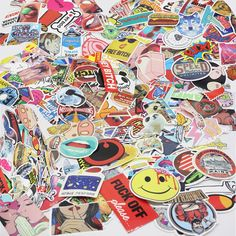 50/60/100 piece PVC Waterproof Fun Sticker Toys The Luggage Stickers Handbag Decoration Stickers 3 Styles Random Colors