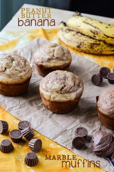 These Peanut Butter Banana Marble Muffins are the perfect way to have peanut butter cups for breakfast, and not feel (quite so) guilty about it!