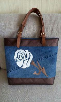 Denim Bag with rose applique Denim Purse, Tote Purse, Bag Jeans, Patchwork Bags, Quilted Bag, Denim Handbags, Tote Handbags, Jean Purses, Purses And Bags