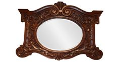 "19th-century French Henri II heavily carved oak frame with beveled glass mirror. Deep carved leaf and foliate design. Frame, 2.5"" deep. Age wear, minor scratches on glass surface. No maker's mark."