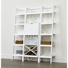 """Sawyer White Leaning Wine Bar with Two 18"""" Bookcases crate and barrel"""