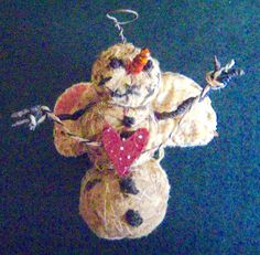 SNOW FAIRY  Ornament with Heart & Vintage Quilt by FolkArtWorks