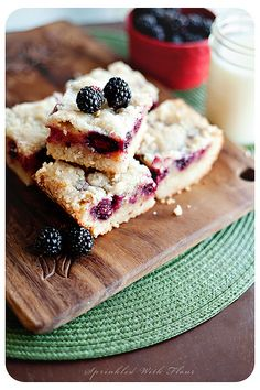 "Blackberry Cobbler Bars... this lady mentions ""fart dusted animal crackers"" in the intro to this recipe!"