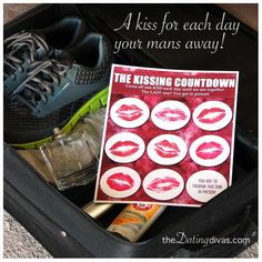 The Kissing Countdown.  A kiss for each day your mans away. www.TheDatingDivas.com #longdistance #kisses #valentines