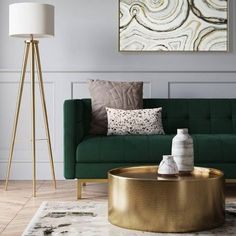 Home Interior Kitchen Cologne Tufted Track Arm Sofa Emerald Green - Project 62 Living Room Green, Living Room Sofa, Home Living Room, Living Room Decor Green Couch, Art Deco Living Room, Barn Living, Green Home Decor, Bedroom With Sofa, Apartment Living