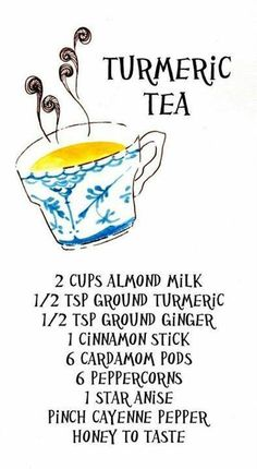 Turmeric Tea ~~ Healing, calming, spiced almond milk tea that has been used in India for thousands of years to cure what ails you.