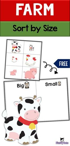 Farm Sort by Size great for toddlers and preschoolers to learn sorting into groups. One of math skills are sorting, and this activity makes it fun! Farm Animals Preschool, Animal Activities For Kids, Farm Activities, Toddler Learning Activities, Free Preschool, Preschool Themes, Toddler Preschool, Free Printables Preschool, Toddlers And Preschoolers