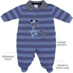 Macacão Listrado para Bebê Menino Azul - Sonho Mágico :: 764 Kids   Roupa bebê e infantil