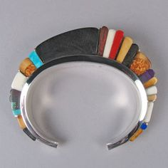 "Charles Loloma, Hopi, ""Architectural"" mosaic bracelet. For the artist biography, see ""American Indian Jewelry I & II,"" by Gregory and Angie Schaaf"