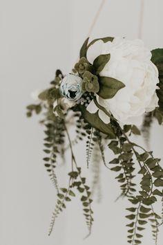 DIY flower crown mobile for baby girl nursery room. Nursery decor crafts. Cute and creative natural botanical greenery wreath to hang above baby crib. Vintage Garden theme. Boho. Woodland. Farmhouse design.