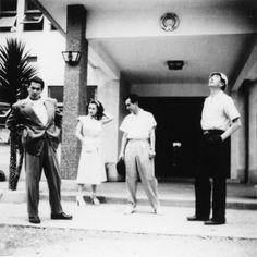 Toshirō Mifune, Masayuki Mori, Machiko Kyō and director Akira Kurosawa on the set of Rashomon