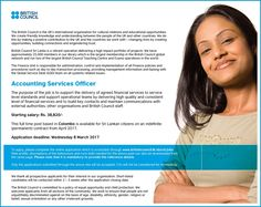We seek candidate for Accounting Services Officer position. British Council, Accounting Services, Career, Knowledge, Positivity, Education, Life, Carrera, Onderwijs