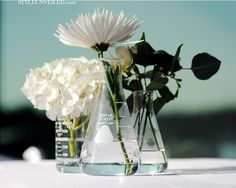 {Yay or Nay?} Wedding centerpiece idea: Beakers as vases