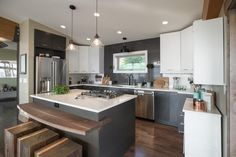 We love the gray and white palette in Blog Cabin's kitchen.