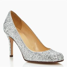 Kate Spade Karolina Pump ($328) ❤ liked on Polyvore featuring shoes, pumps, heels, kate spade, sparkly shoes, glitter heel shoes, sparkly pumps, silver metallic pumps and glitter shoes