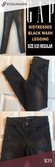 "GAP Black Wash Distressed Legging Jeans Women's Size 0/25 Regular. Inseam 27 1/2"" Rise 9"" Zip fly, button closure. Gap Black Wash Denim Jeans with Distressed Marks on the front of jeans. Preowned but in great shape. Please view all photos. Skinny legs. Retails for $80 GAP Jeans Skinny"