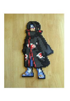 Itachi pixel art made from fuse beads