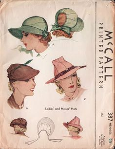 Original VTG 1936 McCall Sewing Pattern - Hats in Three Styles - Size 23 inches