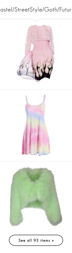"""""""Pastel/StreetStyle/Goth/Future"""" by drunk-inlove ❤ liked on Polyvore featuring dresses, vestidos, pink summer dresses, day summer dresses, tie dye print dress, tie dye dress, mini dress, outerwear, jackets and green"""