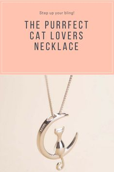 This is the purrfect cat lovers addition to their cat jewelry collection and you will look amazing in this cat necklace! Silver cat pendant of a cat sitting on a crescent moon hanging from a delicate silver chain. Dog Jewelry, Animal Jewelry, Cat Lover Gifts, Cat Lovers, Dog Necklace, Cat Ring, Cat Quilt, Online Pet Supplies, Cat Accessories