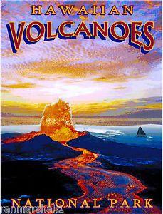 Hawaiian-Volcanoes-Hawaii-Pk-United-States-America-Travel-Advertisement-Poster