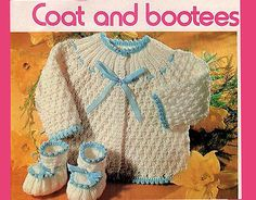Items similar to Pdf Baby Knitting Pattern, Pretty Yoke Matinee Coat Bootees Pram Set Blue and White Hierloom Kitsch Baby Doll Angel Shoes on Etsy Pram Sets, Knit Crochet, Crochet Hats, Baby Christening, How To Purl Knit, Baby Knitting Patterns, Kitsch, Baby Dolls, Pixie