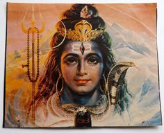 India Vintage Print God Shiva with Snake Over 40 Years OldOver 40 Years Old#Po92