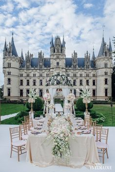 Talk about a fairytale wedding! ⠀ Double tap if you love.⠀ TAG someone who'd love this!⠀ // photo by ⠀ // wedding planner: // decor & floral: Chateau de Challain ⠀ // linens: // regram ⠀ . Wedding Destination, Wedding Places, Wedding Goals, Wedding Sets, Wedding Locations, Summer Wedding, Dream Wedding, Fantasy Wedding, Wedding Favors