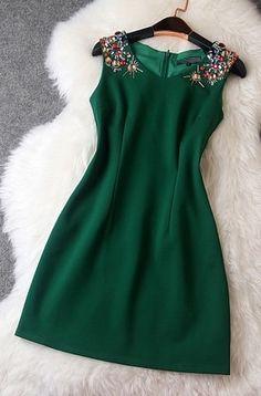 Gemstone beaded slim dress
