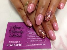 Gel nails with glitter feature nails