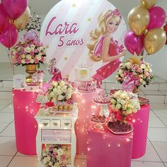 Barbie Party Decorations, Barbie Theme Party, Birthday Room Decorations, Barbie Birthday Party, Girl Birthday, Birthday Balloons, Party Themes, Birthday Parties, Birthday Cakes