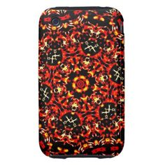 Fiery Red Fractal Pattern Tough iPhone 3 Case