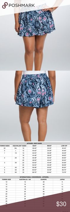 TORRID PAISLEY PRINT PLEATED SHORTS W SMOCKED BACK Very cute Torrid paisley print shorts. Large leg holes, making them flowy, comfortable, and easy to move around in. Pleated front. Smocked back, influencing them to hug you in the right places! Wonderful colors, with a lightweight fabric. SZ 2X / EQUIVALENT TO AN 18/20.  **NO LONGER IN PRODUCTION. SOLD OUT ON TORRID.**  100% polyester.   All reasonable offers considered. Free gift with purchase. Bundle for a discount! torrid Shorts