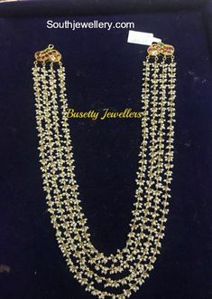 22 carat gold four line guttapusalu pearls mala by Busetty Jewellers. Bridal Jewelry, Beaded Jewelry, Silver Jewelry, Silver Necklaces, Pearl Jewelry, Pearl Choker, Pendant Jewelry, Silver Ring, Halo