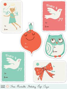 A whole bunch of links to great free printable holiday gift tags via Creature Comforts