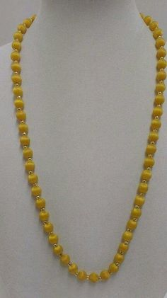 Estate vintage yellow chunky plastic bold yellow thread bead Necklace
