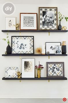 DIY Gallery Wall: For a new take on the gallery wall, mount three inexpensive wood pieces with pretty brackets to your wall. Create a custom matte for family photos, prints and artwork with wallpaper or giftwrap. Mix your frame sizes and finishes to add variety and interest to the wall. Layer them from largest to smallest, and pepper in small accents for a finishing touch.