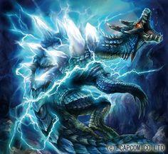 """El Lagiacrus es un gran Leviathan conocidos como Wyverns marinos, están en lo más alto de la cadena alimenticia acuática. Los marinos los llaman """"Señores de los Mares"""". La electricidad que almacenan en la espina dorsal puede causar oleajes muy bonitos. Puede vérselos en tierra."""
