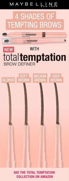 Get softly defined, natural looking brows with NEW Total Temptation Brow Definer . - Wedding Makeup - Augen Make Up Beauty Skin, Health And Beauty, Beauty Makeup, Makeup Brands, Drugstore Makeup, Maybelline, Beauty Secrets, Beauty Hacks, Beauty Tips