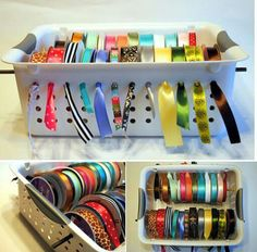 Clever Idea! Ribbon basket...love how the holes are used so the ribbons don't get tangled.