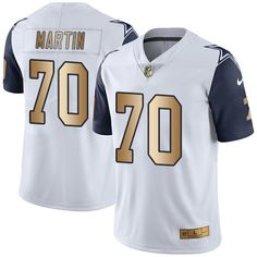 Nike Dallas Cowboys Men's #70 Zack Martin Limited White/Gold Rush NFL Jersey