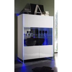 Vetrinetta soggiorno design struttura in vetro illuminato con LED rgb ...