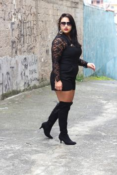 Look do Dia (Black - Over The Knee) - Camila Ticiane
