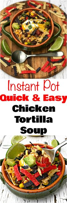Instant Pot Chicken Tortilla Soup is a quick and easy 20-minute pressure cooker recipe with tortilla strips, avocado, Greek yogurt, shredded cheese, black beans, and cilantro. This meal is perfect for weeknight dinners, meal prep, and freezer meals. #InstantPot #InstantPotRecipes #PressureCooker #PressureCookerRecipes #ComfortFood #Soup