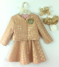 Girls Pink/Gold Houndstoothh Ensemble by GlamClosetKidz on Etsy, $94.00
