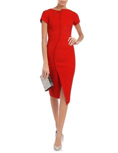 Red Crepe Button Pencil Dress Antonio Berardi