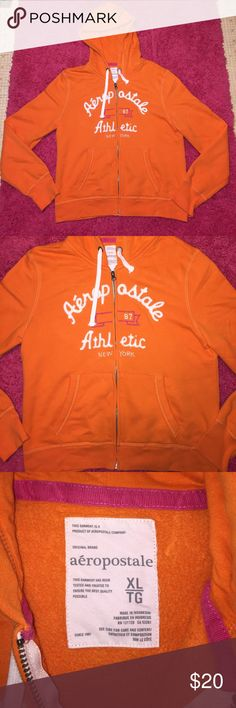 Aeropostale Zip Up Hoodie Aeropostale Zip Up Hoodie in Orange, Pink, & White! Super adorable & like new! In perfect condition no rips, stains, or pilling! Chest Measurement 20 1/2in. Length from shoulder 23 1/2in. Aeropostale Tops Sweatshirts & Hoodies