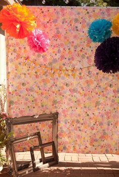 Photo backdrop (big floral sheet) for a Garden Party {Miss Party Mom's} Client Backyard Garden Party